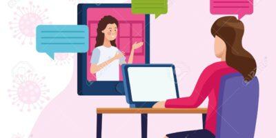 business women in meeting online reunion vector illustration design